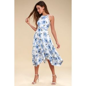 NEW Zahara Blue and White Floral Print Midi Dress